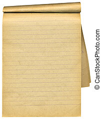 Old notebook with blank tattered pages. Over white