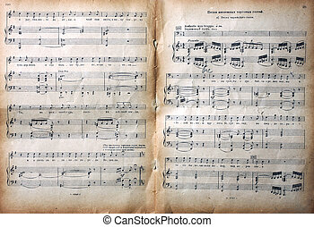 Old notes - Old vintage musical page with notes