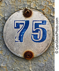 old number plaque