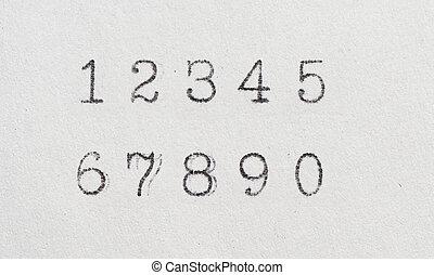 Old numbers by typewriter. Vintage font