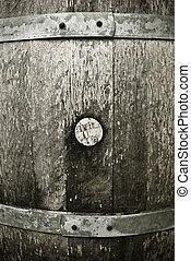 a detal of a aged wine barrel