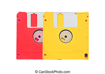 old obsolete colored floppy disks on white background