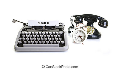 Old office Still life with retro typewriter, alarm clock, telephone on a white background with copy, space