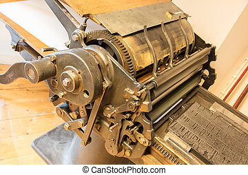 Old offset printing press in the Netherlands