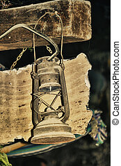 Old oil lamp - Old lamp spanish ancient antique architecture