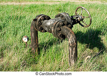 Old oil valve on green grass background