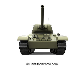 Old olive green military heavy tank - front view