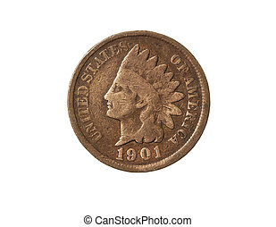 Old American One Cent Coin (Indian Head) on White Background