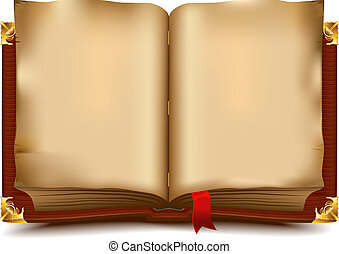 Old open book. Illustration in vector format