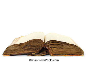 Old open book on a white background