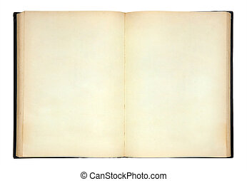 Old open book on white background