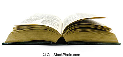 old open dictionary over white background