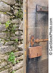 Old open door