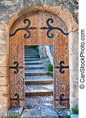 Old open wooden door with stone stairs in the background