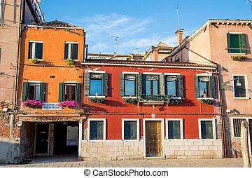 Old Orange Buildings in Venice