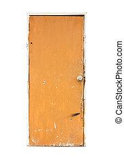 old orange door isolated on white background