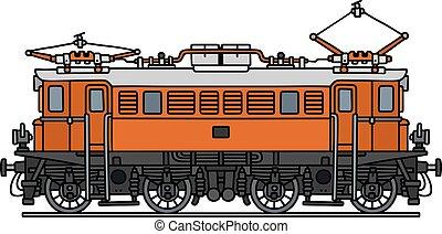 Old orange electric locomotive