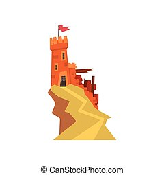 Old orange fortress with destroyed wall on top of hill. Castle with iron grating on entrance and windows. Fluttering red flag on tower. Flat vector design for kids fairytales