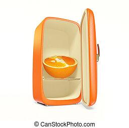 fridge - old orange fridge on white background isolated