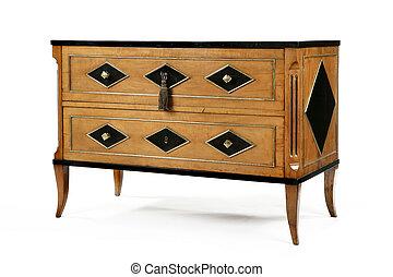 Old original vintage wooden chest dresser