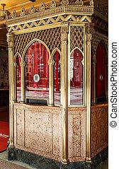 Old Ornate Box Office - An old ornate box office with gold...
