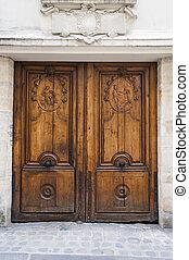 Old ornate doors in Paris, France