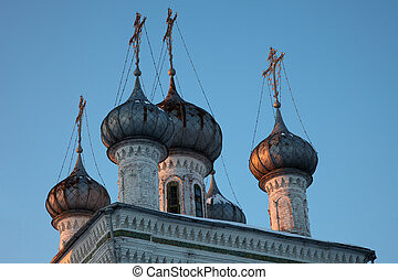 Cupolas of Church of Presentation of Jesus at the Temple, Vologda, Russia.