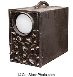 Old oscillograph isolated on a white background. Studio...