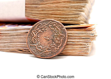 old ottoman coin and paper banknotes