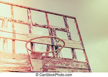 Old outdoor basketball . ( Filtered image processed vintage effect. )