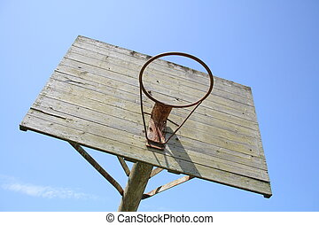 old outdoor basketball hoop against blue sky