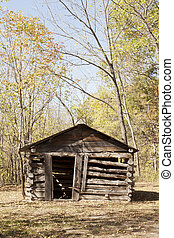 Old Ozark Cabin - Front side of an old cabin built in the ...