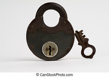 Old Padlock and Key Isolated on white