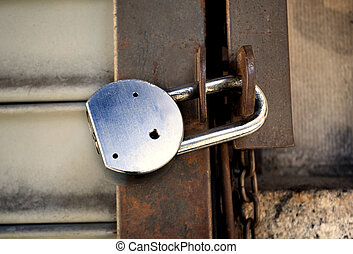 Old padlock close-up