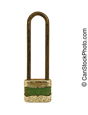 old padlock isolated on a white background