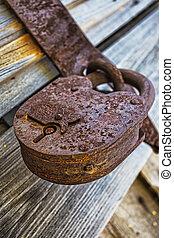 Old padlock on gatees