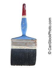 Old Paint Brush on White Background