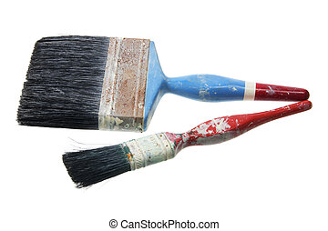 Old Paint Brushes on White Background