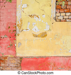 Old painted brick wall background