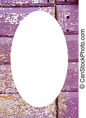 Old painted, crumbled door frame and white oval - Background...