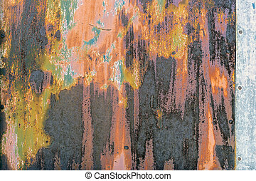 Old painted metal texture with traces of rust