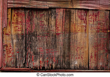 Old painted wooden board. - This is old weathered painted ...