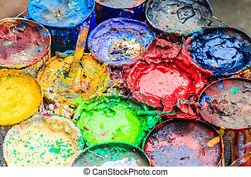 Old paints artists paintbrushes paints and brushes background