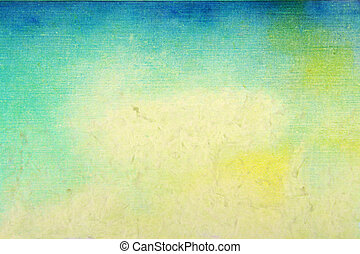 Old paper: Abstract textured background: blue, yellow, and green patterns on beige backdrop