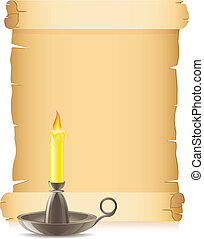 old paper and conflagrant candle
