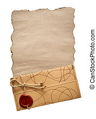 old paper and envelope isolated
