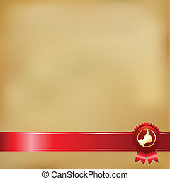 Old Paper And Gold Award Ribbons, Vector Illustration