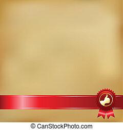 Old Paper And Gold Award Ribbons, Vector Illustration