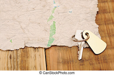 Old paper and key with space for text