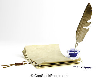 Old paper and quill pen - Old paper with a wax seal and...